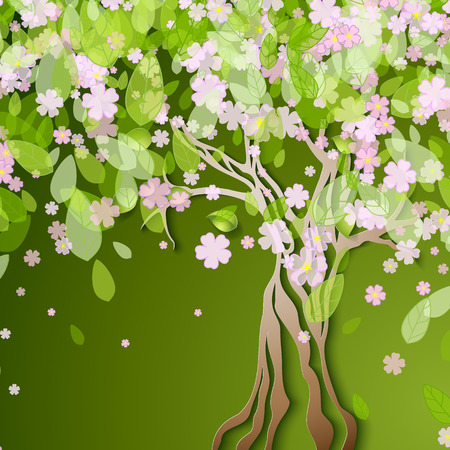 branch cut: Vector illustration with stylized spring tree with pink flowers Illustration