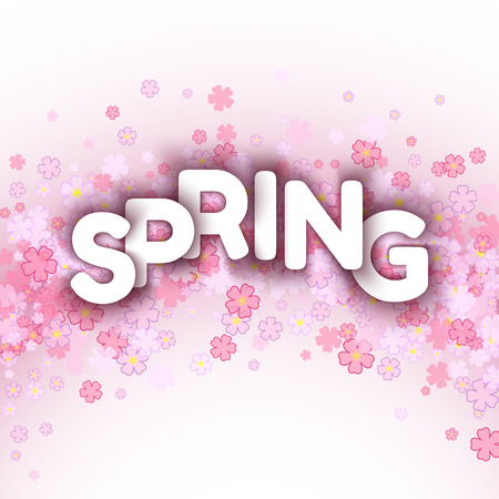 pink flowers: White spring sign over pink flowers background. Vector illustration.