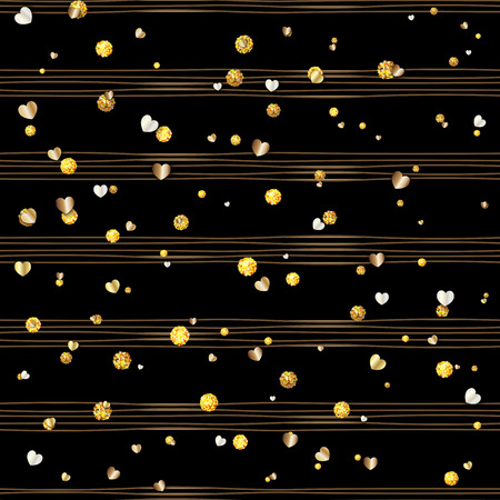 Seamless pattern of random gold balls and hearts on trendy black background with brown stripes. Elegant pattern for background, textile, paper packaging and other design. Vector illustration. Illustration