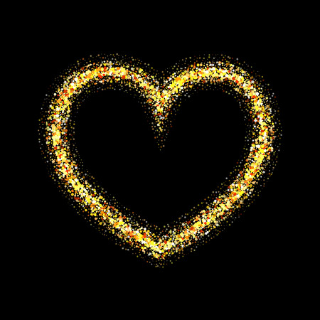 gold heart: Vector gold heart with shiny sparkles on black background