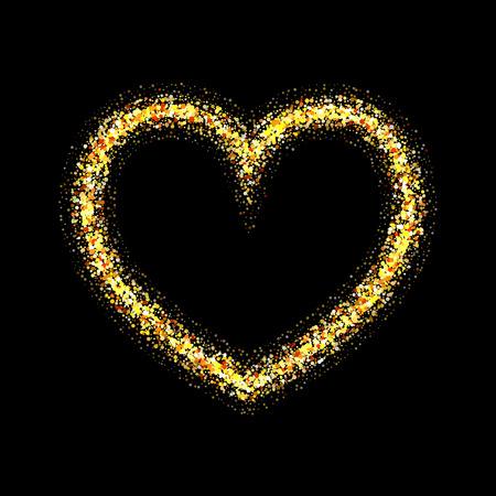 shiny black: Vector gold heart with shiny sparkles on black background