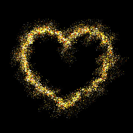 shiny: Vector gold heart with shiny sparkles on black background