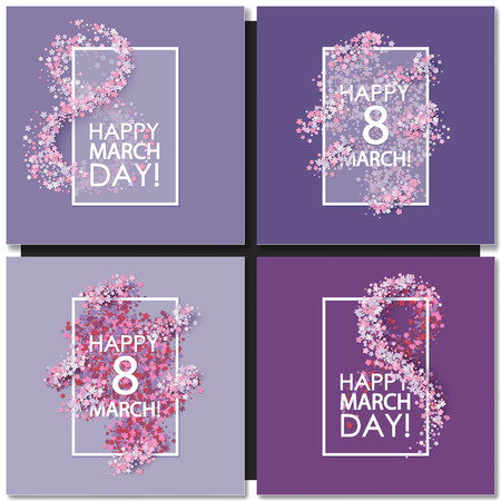 Set of Women day cards background with hearts Vectores