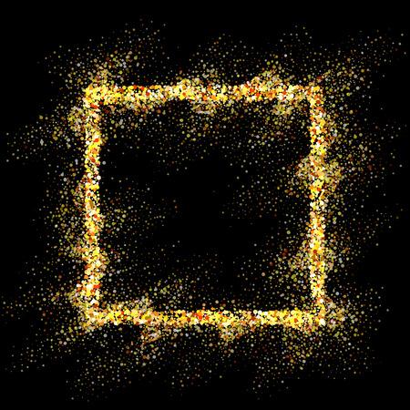 square frame: Golden square frame on black background. Gold sparkles on black background. Gold glitter vector.