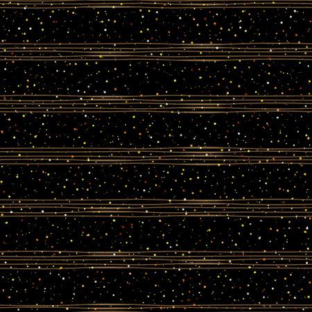Vector pattern: mẫu trang trí liên chấm vàng ngẫu nhiên trên nền đen hợp thời trang với sọc nâu. mẫu thanh lịch cho nền, dệt may, bao bì giấy và thiết kế khác. Vector minh họa.