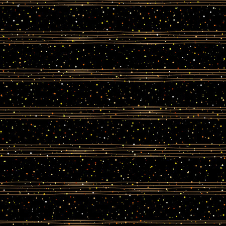 strip design: Seamless pattern of random gold dots on trendy black background with brown stripes. Elegant pattern for background, textile, paper packaging and other design. Vector illustration.