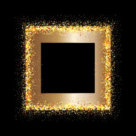 marco cumpleaños: Marco de oro sobre fondo negro. El oro brilla en el fondo negro. Fondo del brillo del oro.