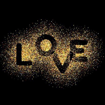 AMORE, lettere d'oro. Elegante sfondo illustrazione vettoriale con glitter dorato texture. L'oro brilla su sfondo nero. glitter background oro.