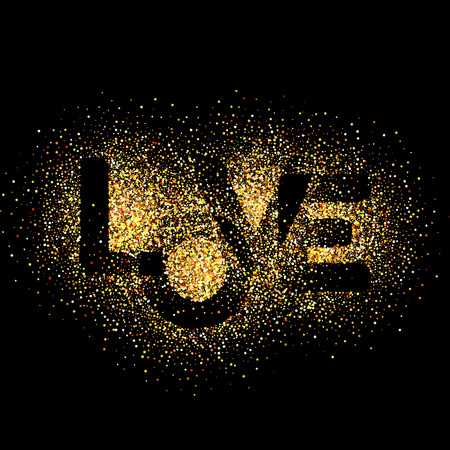 letras negras: Amor, letras de oro. Elegante ilustración vectorial de fondo con textura de oro del brillo. El oro brilla en el fondo negro. fondo del brillo del oro.