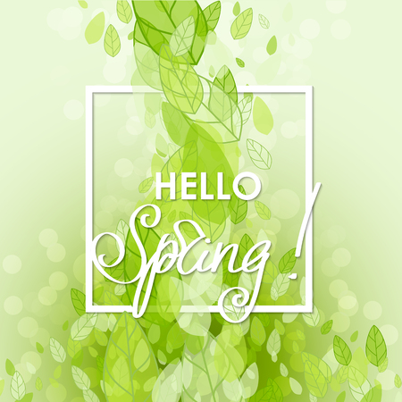 green environment: Spring abstract background. Vector illustration. Design element with green leaves. Hello spring Illustration