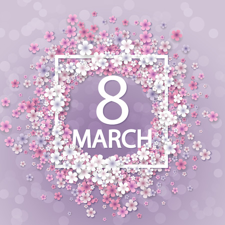 Women day background with frame flowers Ilustrace
