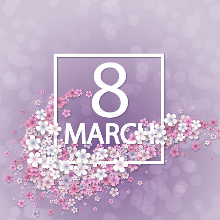 Women day background with frame flowers Vectores