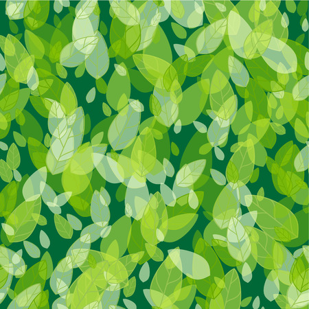 Seamless background with spring green leaves. Vector illustration Stock Illustratie