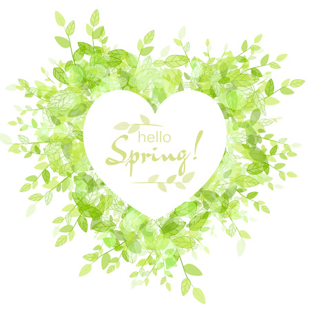 hello heart: White heart frame with text hello spring. Green background with leaves. Creative vector design for wedding invitations, greeting cards,  spring sales.