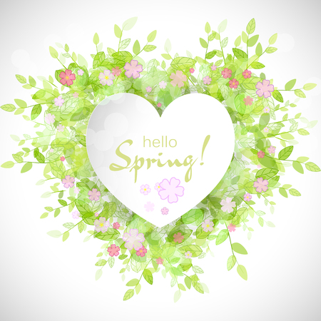 hello heart: White heart frame with text hello spring. Green background with leaves and flowers. Creative vector design for wedding invitations, greeting cards,  spring sales.