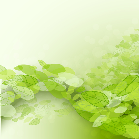 Spring abstract background. Vector illustration. Design element with green leaves. Vettoriali