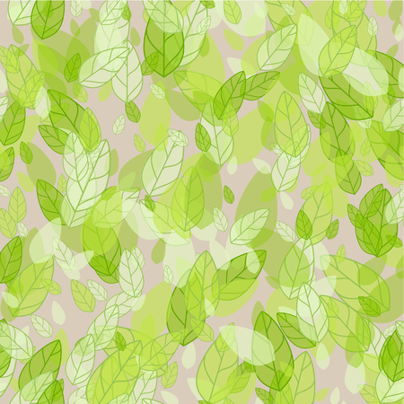 foliage  natural: Seamless background with spring green leaves. Vector illustration Illustration