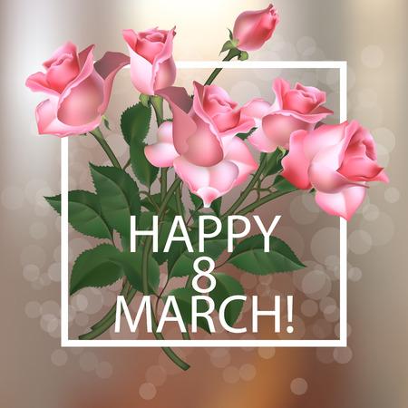 mujer con rosas: Antecedentes de la vendimia Día de la Mujer con las rosas rosadas, ilustración vectorial