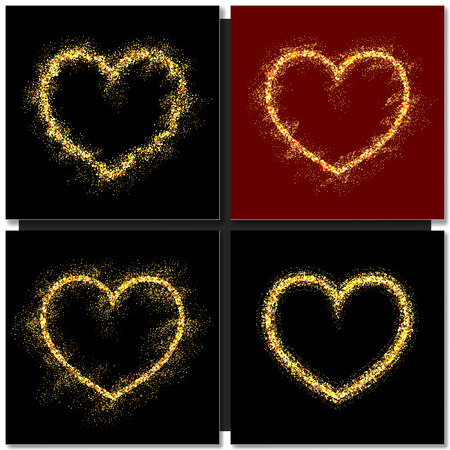 gold heart: Set of Valentines day cards background with gold heart. Vector illustration Illustration