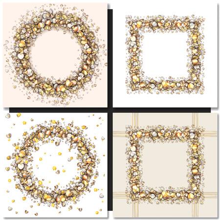 golden frames: Set of Golden frames on black background. Gold sparkles on black background. Gold glitter vector.
