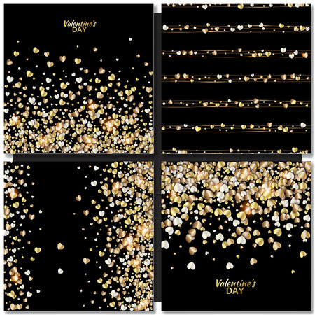 gold background: Set of Vector patterns with gold hearts on black background. Valentines day illustration