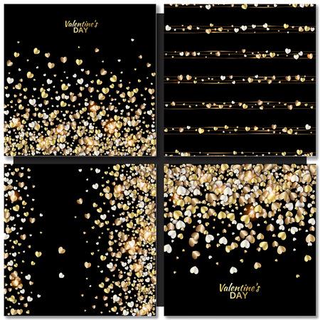 Set van Vector patronen met gouden hart op zwarte achtergrond. Valentijnsdag illustratie