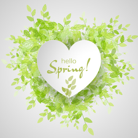 green eco: White heart frame with text hello spring. Green background with leaves. Creative vector design for wedding invitations, greeting cards,  spring sales.
