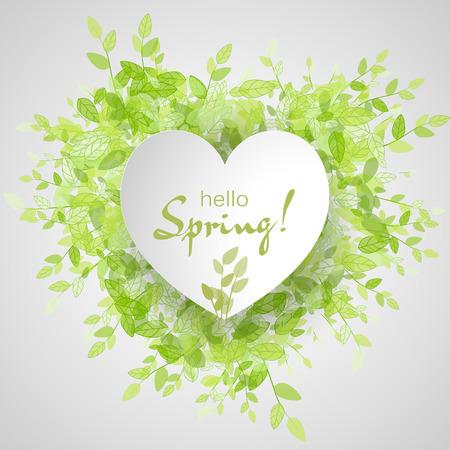 Weiß Herz-Rahmen mit Text hallo Frühling. Grüner Hintergrund mit Blättern. Kreative Vektor-Design für Hochzeit Einladungen, Grußkarten, Frühjahr Umsatz.