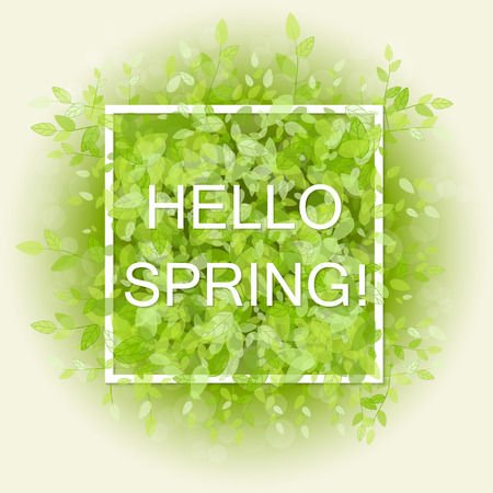 fond de texte: Spring abstract background. Vector illustration. Design element with green leaves. Hello spring Illustration