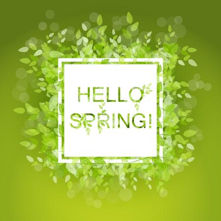 春の抽象的な背景。ベクトルの図。緑の葉を持つデザイン要素。こんにちは春  イラスト・ベクター素材