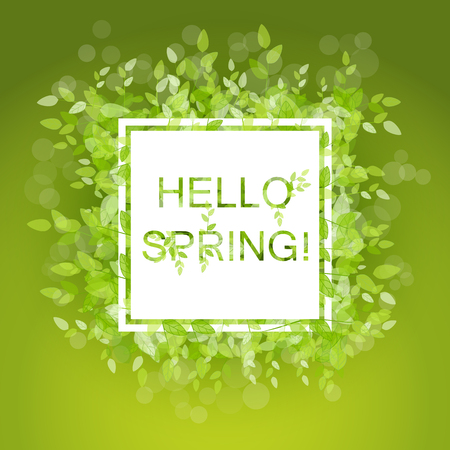 Spring abstract background. Vector illustration. Design element with green leaves. Hello spring Illusztráció