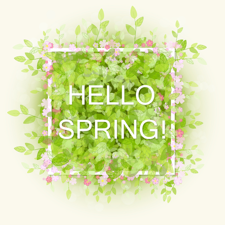 Spring abstract background. Vector illustration. Design element with green leaves and pink flowers. Hello spring