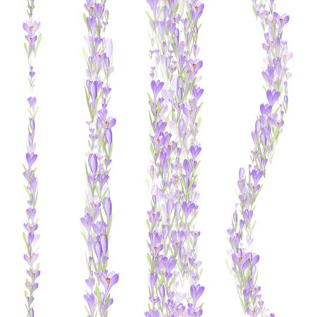 Set van Vector bloemen naadloos patroon verticale strepen met sneeuwklokjes en krokussen bloemen