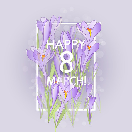 snowdrops: Vector card for 8 march. International Women Day. Floral frame with crocuses and  snowdrops. Purple background