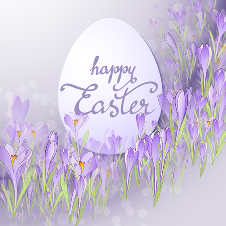 Vector card for Easter. Floral frame with crocuses and  snowdrops. Purple background