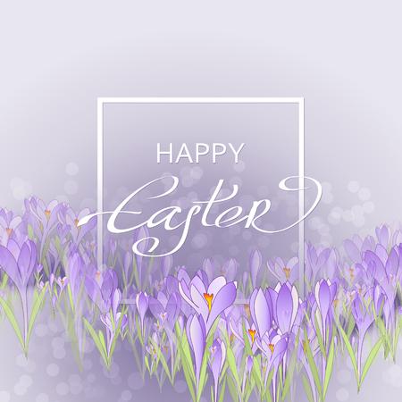 Vector de la tarjeta feliz Pascua. Marco floral con las azafranes y campanillas de invierno. fondo púrpura Ilustración de vector