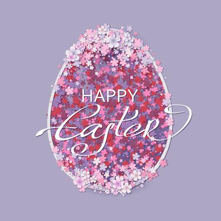 De achtergrond van Pasen met eieren en lente bloemen. vector illustratie