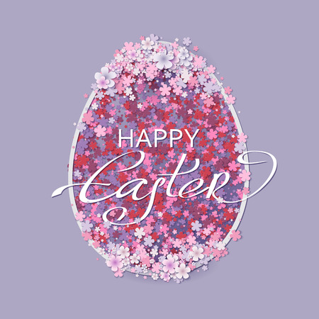 Easter background with egg and spring flower. Vector illustration
