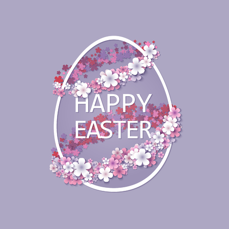 spring flower: Easter background with egg and spring flower. Vector illustration Illustration