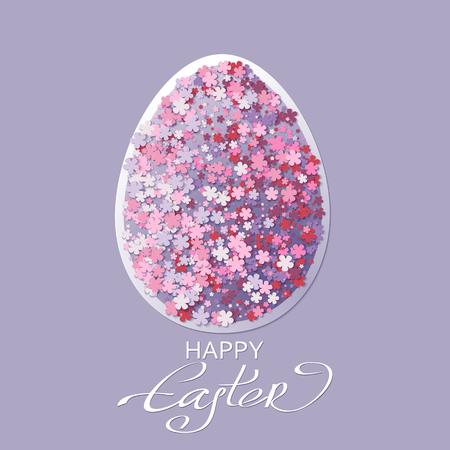 white eggs: Easter background with egg and spring flower. Vector illustration Illustration