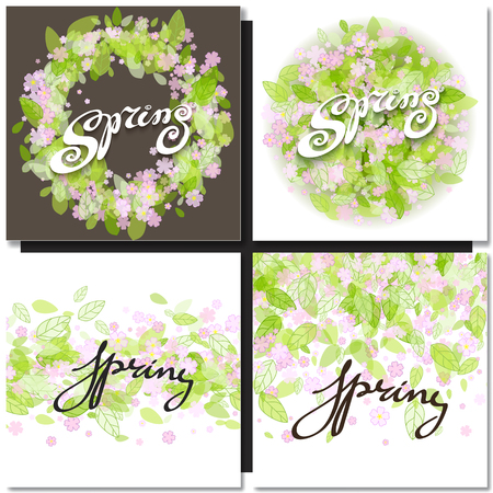 grren: Set of spring letters over pink flowers  and green eaves backgrounds. Vector illustration. Illustration