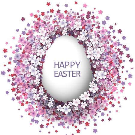 Sfondo di Pasqua con uova e fiori di primavera. illustrazione di vettore