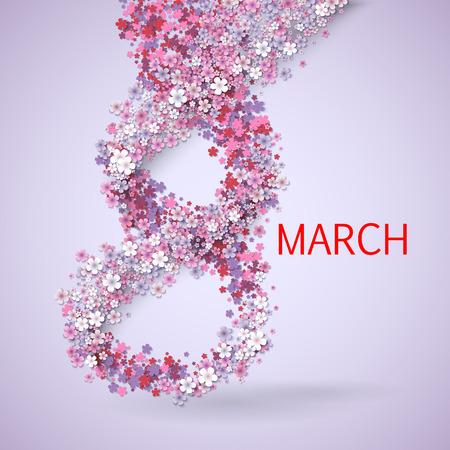 vrouwen: Roze bloemen wenskaart - International Gelukkige Vrouwendag - 8 maart vakantie achtergrond met papier gesneden Frame Bloemen. Trendy Design Template. Vector illustratie. Stock Illustratie