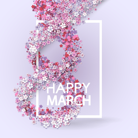 8 march: Pink Floral Greeting card - International Happy Womens Day - 8 March holiday background with paper cut Frame Flowers. Trendy Design Template. Vector illustration.