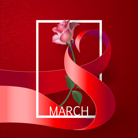 mar: Happy Womens Day Paper Design.  Ribbon March 8 greeting card with red rose and white frame. Illustration