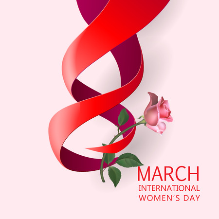 mar: Happy Womens Day Paper Design.  Ribbon March 8 greeting card with red rose. Illustration