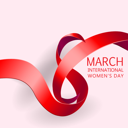 mar: Happy Womens Day Paper Design.  Ribbon March 8 greeting card. Illustration