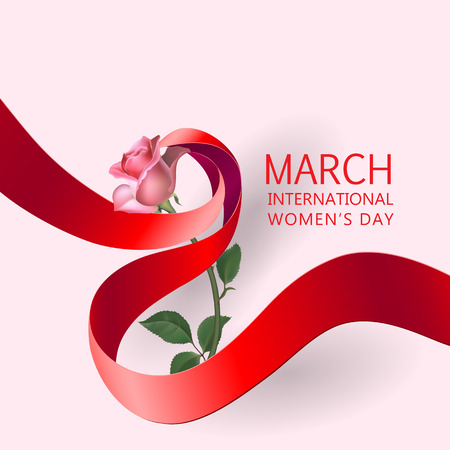Happy Womens Day Paper Design.  Ribbon March 8 greeting card with red rose. Illustration