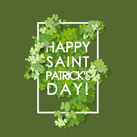 St Patrick's Day background. Vector illustration for lucky spring design with shamrock. Vettoriali