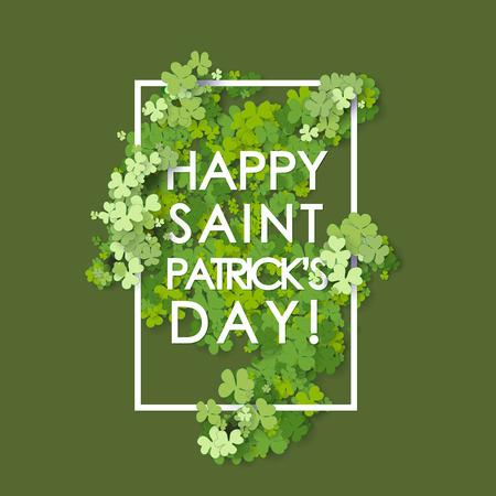 St Patrick's Day achtergrond. Vector illustratie voor geluk voorjaar ontwerp met klaver. Stock Illustratie